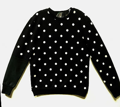 Drifters New York Small 100% Cotton Navy White Dot Asymmetric Crewneck Sweater