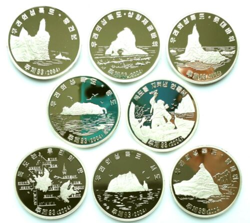 "L3395, Korea ""Dokdo Island"" Proof Coins 2004 Alu, Full Set 8 Pcs Rare"