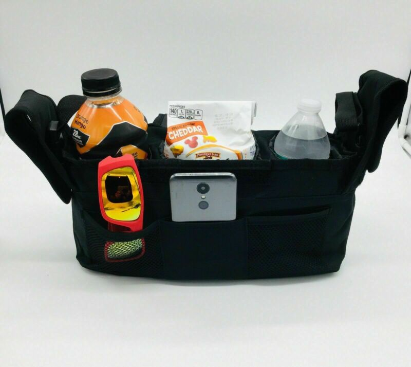 Baby Stroller Carriage Organizer 3 Insulated Sections, 3 Outer Pockets & Strap