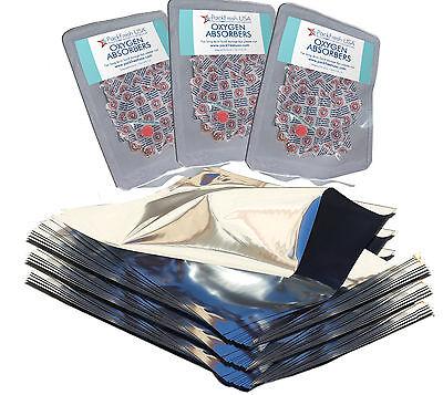 (25) 1 Gallon GENUINE MylarⓇ Bags + PackrFreshUSA (30) 500cc Oxygen Absorbers