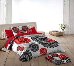 Naturals funda nordica cama karma mandala rojo negro gris for Funda nordica blanca y gris