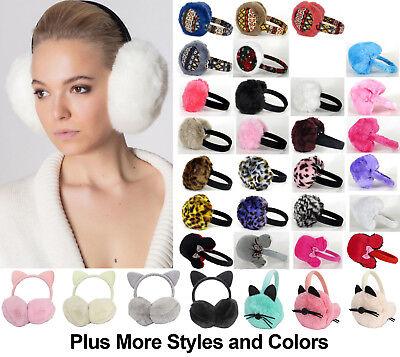 Winter Warm Women Fluffy Faux Rabbit Fur Mink Foldable Earmuffs Earcap Earflap ()