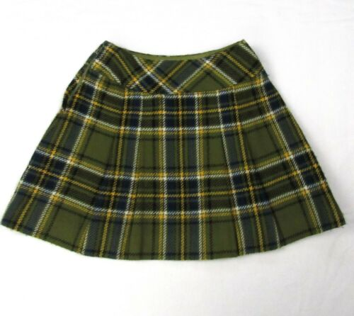 "Vintage 60s Olive Green Tartan Pleated Plaid Micro Mini Skirt XS 24"" Waist Wool"