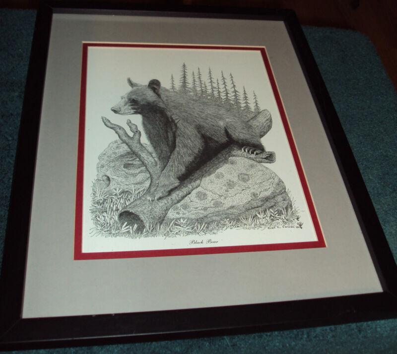 FRAMED BEAR BY ARTIST ALAN E. CARMAN