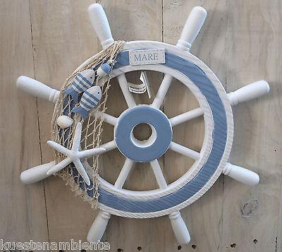 """Steuerrad """"Mare"""" Ø 40,5cm mit Netz u.Fischen II. Wahl maritime Dekoration"""