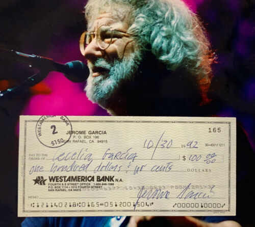 Jerry Garcia Signed Personal Bank Check Grateful Dead Autographed Beckett BAS