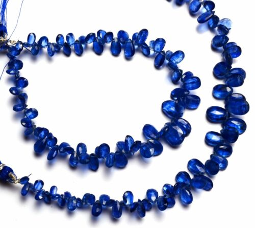 """Natural Gem Kyanite 4x6 to 7x10MM Size Faceted Pear Shape Briolettes 8"""" Strand"""