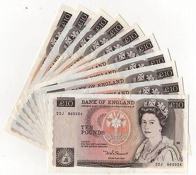 Somerset Florence Nightingale £10 Banknote Single Letter Prefix (1980-1984) EF+