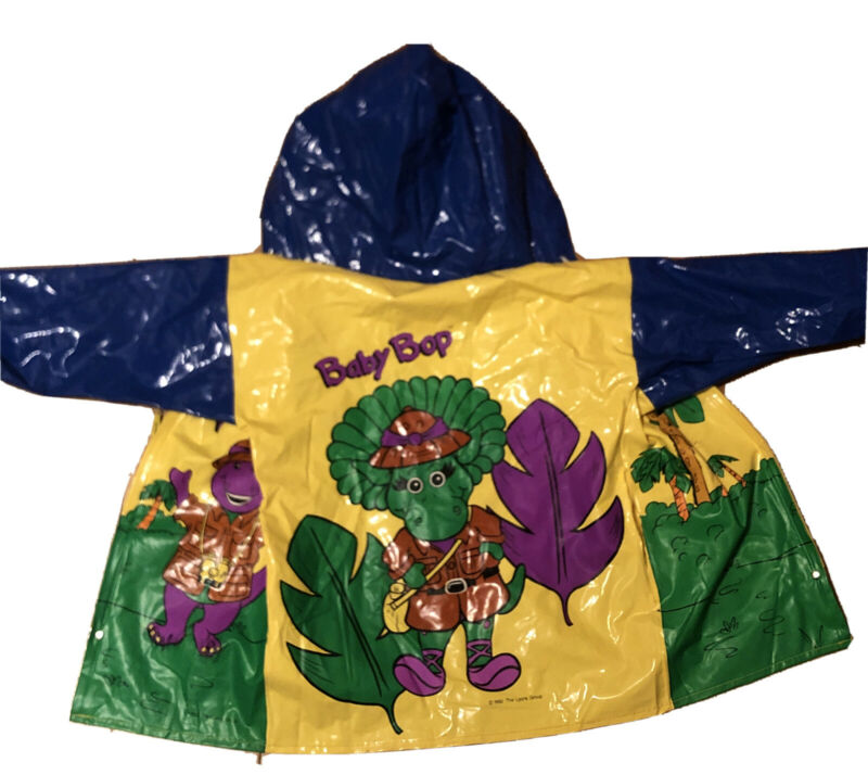 VINTAGE Toddler Size 2 2T 1992 Barney & Friends Raincoat Hooded Rain Jacket Coat
