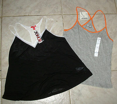 2 sz L juniors Strappy Racerback Tank Top Cami Joe Boxer Gray Bongo Black new L