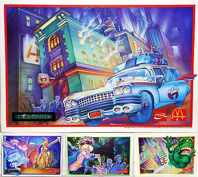 Rare McDonalds CocaCola Vtg Ghostbusters Complete Set Poster Art Print Placemats
