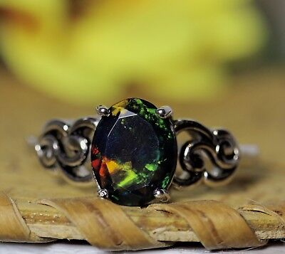 Black opal ring, genuine opal, black opal ring, opal jewelry, gift for her, opal