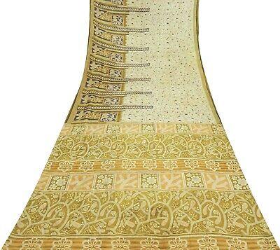 Sari Aus Reiner Seide (Saree aus reiner  hellgelb Paisley & Blätter indisches Sari-100% -VT-PS60340A)