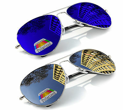Herren Damen Pilot Spiegel Polarisiert Sonnenbrillen Mode 80er Shades UV400