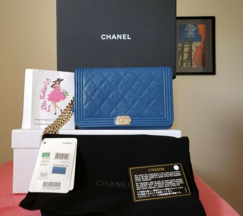 CHANEL boy 2019 blue Caviar Leather Quilted Wallet On Chain gold hw bag