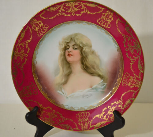 ANTIQUE IMPERIAL H & C CARLSBAD AUSTRIA HAND PAINTED PLATE SIGNED CONSTANCE