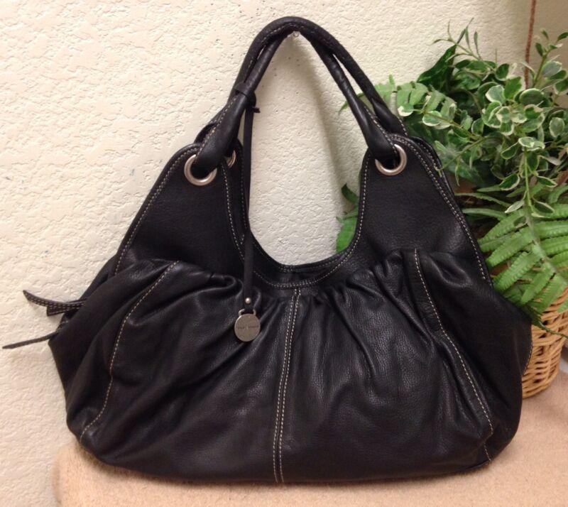 Authentic Rabeanco Black Pebble Leather Slouchy Hobo Handbag Shoulder Bag NWOT