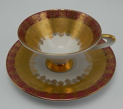 Waldershof Bavaria Cup And Saucer Red & Gold Made in Germany