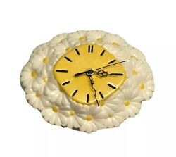 Vintage Ceramic Flowers Daisies Oval Clock Kitchen Wall Decor Atlantic Mold