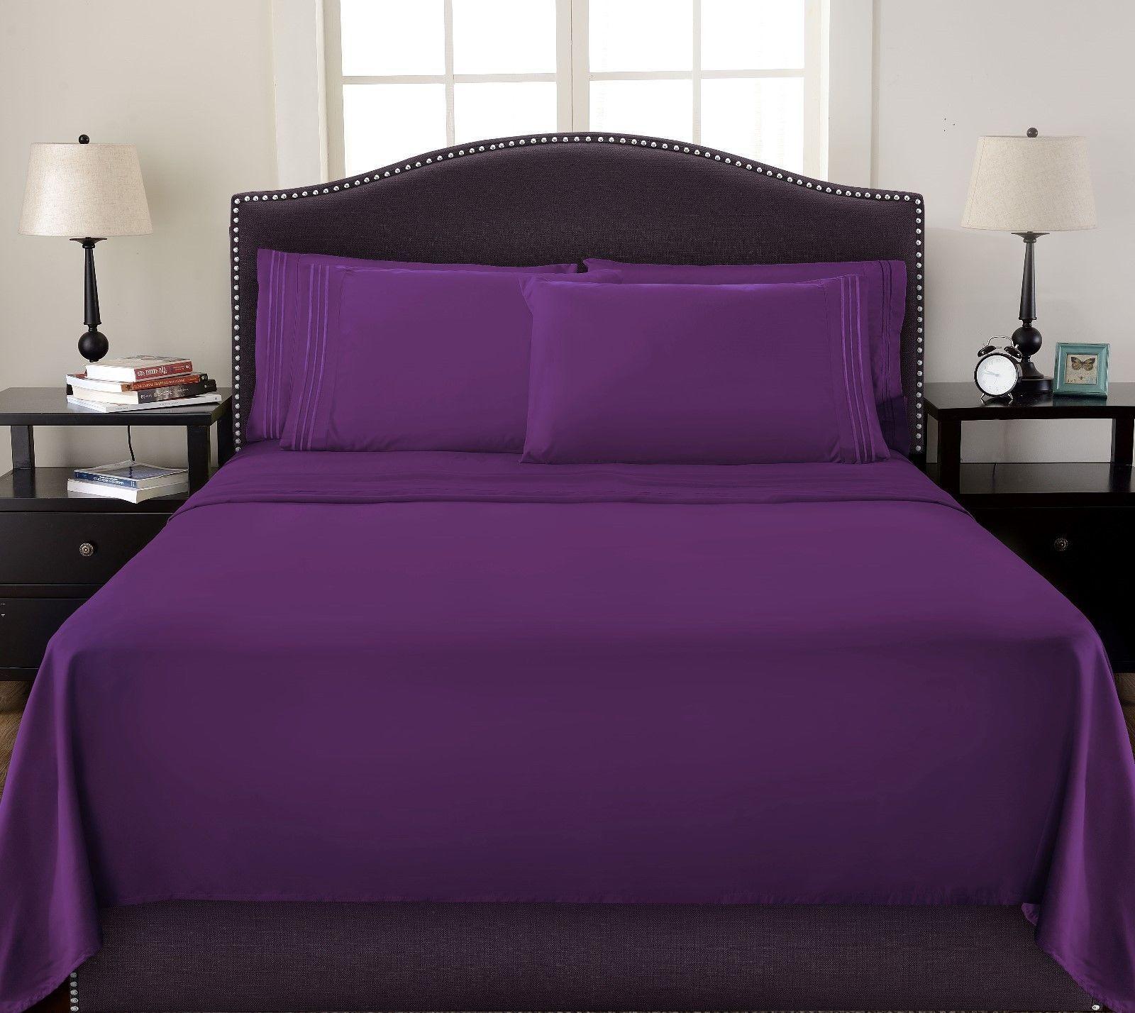 Egyptian Comfort 1800 Count Color Sheets Deep Pocket 4 Piece Bed Sheet Set