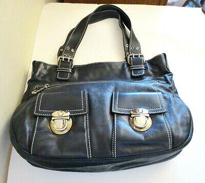 MARC JACOBS Black Leather Large Satchel Bag, Double Handles, 2 front pockets   Large Front Pocket Satchel Handbag
