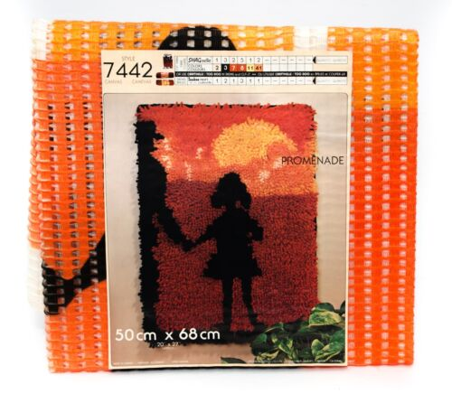 "Vintage Shagnelle Hook Rug Carpet Printed Canvas Promenade 20"" x 27"" New #7442"