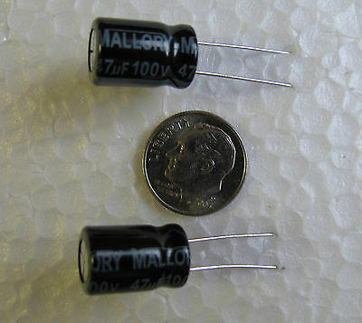 20 Mallory Sek Series 47uf 100v 105c Radial Electrolytic Capacitors Us Seller
