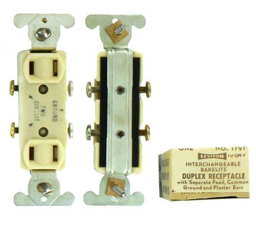 VINTAGE Leviton 1797 Interchangeable Bakelite Duplex Receptacle Ivory