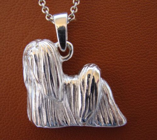 Large Sterling Silver Lhasa Apso Standing Study Pendant