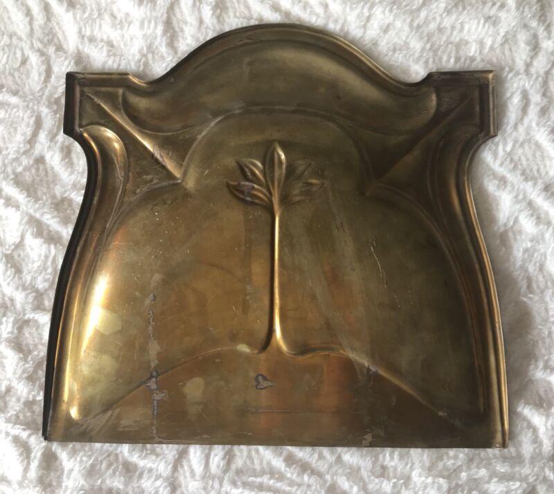 Vintage Antique Art Nouveau Victorian Brass Dustpan And Sweeper Broom