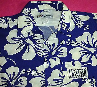 L PAMPERED CHEF AIM HAWAIIAN DREAMS & DESTINATIONS BLUE WHITE FLORAL MENS SHIRT