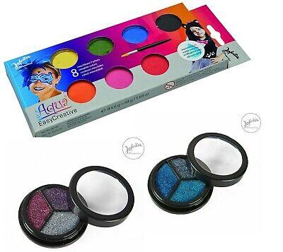 Kinder Schminke Aqua Farbe Jofrika Set 8 Farben + 2 x Glitzer  Theaterschminke