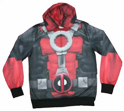 Deadpool Classic Costume (Deadpool  Mens Zip Up Hoodie - Classic Costume Sublimated Allover)