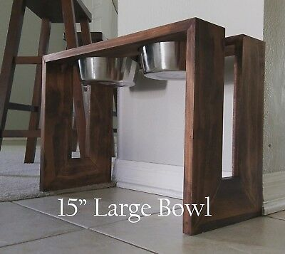 "Wood Elevated Pet Dog / Cat Food Stand 15"" 64oz Bowls"