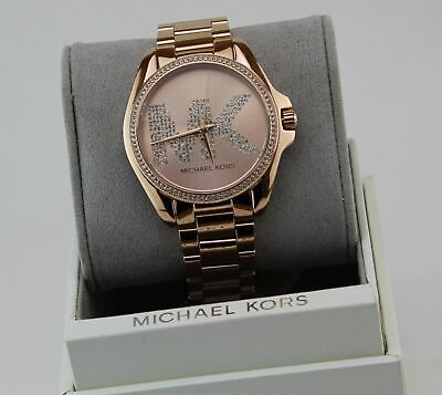 NEW AUTHENTIC MICHAEL KORS BRADSHAW CRYSTALS ROSE GOLD WOMEN'S MK6556 WATCH