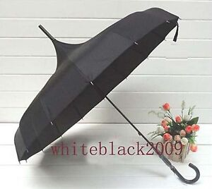 Black Pagoda Parasol wind-proof umbrella Polyester UV waterproof long handle