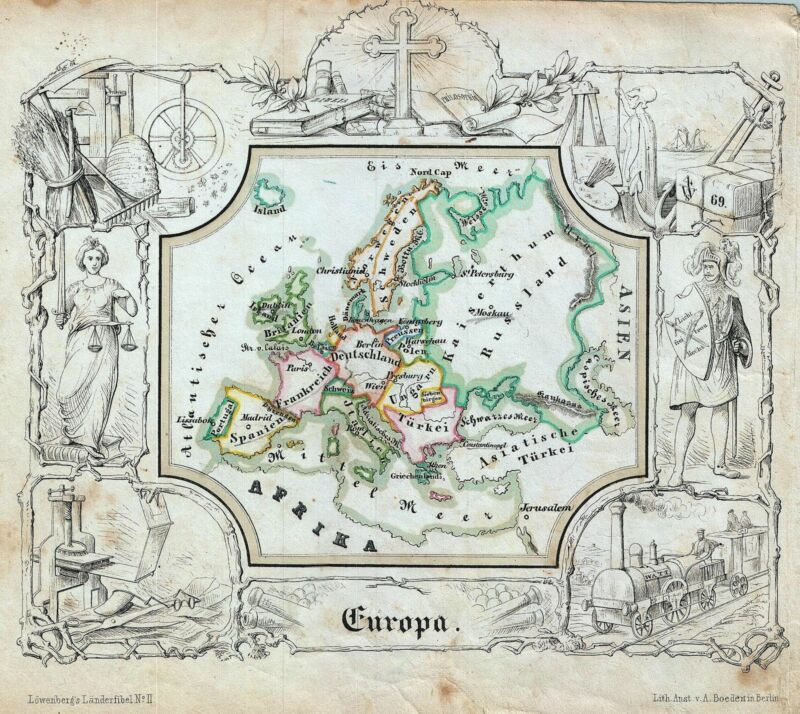 1846 Lowenberg Whimsical Map of Europe