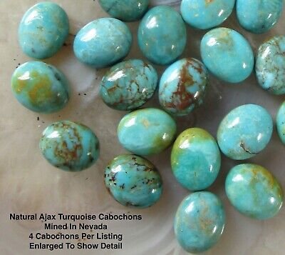 8mm x 10mm Oval Ajax Turquoise Cabochons, Nevada Mined Gemstone, 4 Cabs #11J