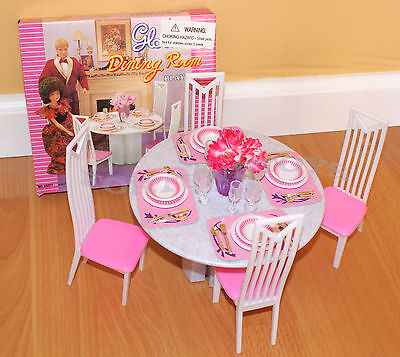 Купить GLORIA - GLORIA FURNITURE DOLL HOUSE 4 CHAIRS DINING ROOM TABLE CHAIRS PLAYSET FOR BARBIE