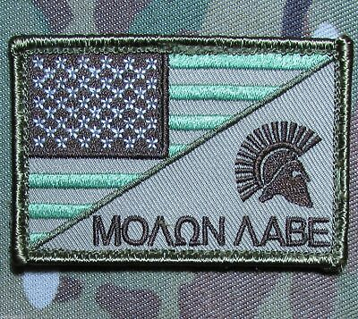 VELCRO® BRAND Hook Fastener Compatible Patch Molon Labe USA MLTN ACU 3x2""