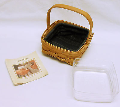 2003 LONGABERGER TARRAGON BOOKING BASKET WITH PROTECTOR & LINER
