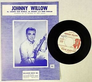 FRED-DARIAN-45-Johnny-Willow-JAF-LABEL-Popcorn-DOO-WOP-Promo-SHEET-MUSIC-C959