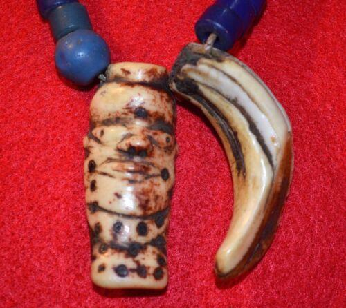 Antique African Pende Tribal Necklace Carved Bovine Bone Face Amulet & Boar Tusk