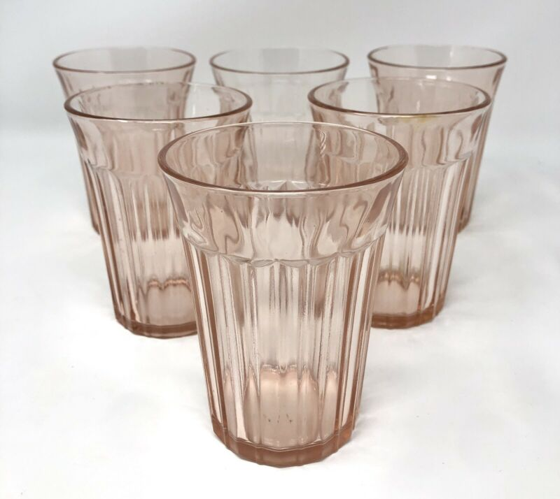 Set of 6 Anchor Hocking Pink Old Colony Open Lace Edge Ribbed Tumbler Glasses