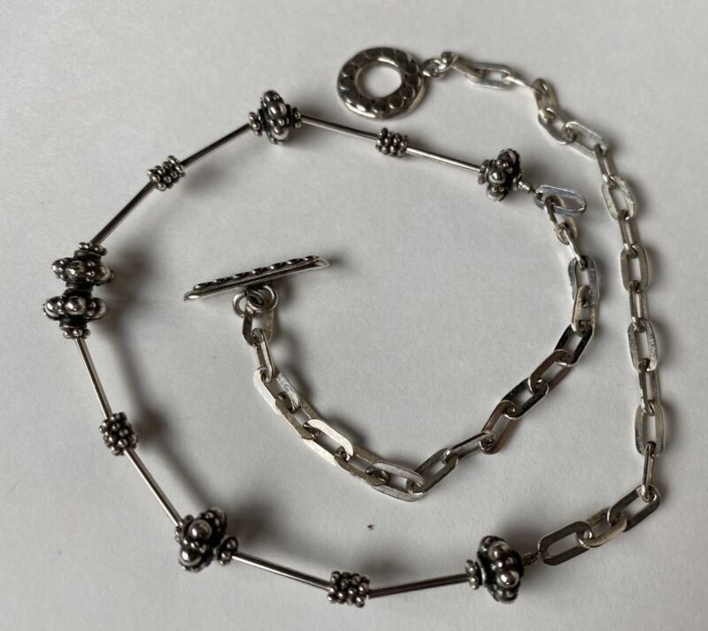Vintage Marked 925 Sterling Silver Beaded & Link Chain Single Strand Necklace