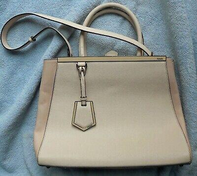 FENDI Medium 2Jours Handbag Leather Beige 2WAY
