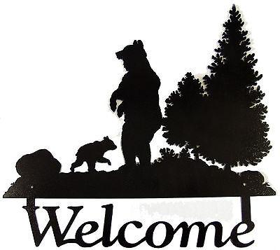 BEAR WELCOME SIGN RUSTIC LODGE MOUNTAIN HUNTING CABIN METAL ART WALL DECOR NEW (Mountain Hunting Cabin Lodge)