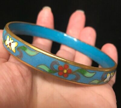 Cloisonne butterfly shaped spring clasp bangle in vibrant black and red colours