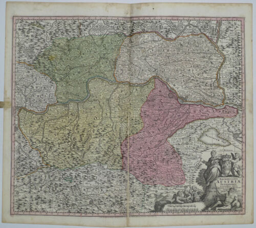 1745 Genuine Antique map Austria. Danube. Ornate. Hand colored. G.M. Seutter