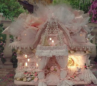 Shabby Pink Christmas Village Lacey Victorian House Roses Chic Light Up